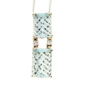 Art Deco Checkerboard Aquamarine Necklace